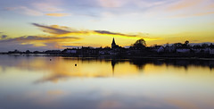 Bosham Gold (Solent Poster) Tags: uk sunset seascape west yellow sunrise landscape sussex golden coast bosham pentax south april k3 2016 1685mm