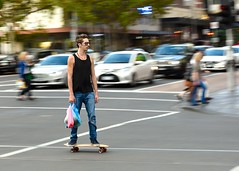 A few essentials (jeremyhughes) Tags: street urban man motion sunglasses speed movement nikon melbourne shades skateboard tanktop d750 skater vest nikkor panning skateboarder 80200mmf28d