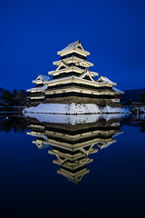 Matsumoto Castle | Nagano (dawvon) Tags: travel sunset nature water japan architecture reflections landscape japanese twilight asia dusk bluehour moat matsumoto nagano magichour goldenhour historicalbuilding naganoprefecture honshu halflight  naganoken  matsumotocastle crowcastle    matsumotoj  chbu matsumotoshi karasujo hirajiro flatlandcastle chburegion