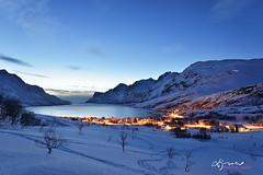Ersfjordbotn Blue Hour (Lijuan Guo Photography ( Hollow Bamboo)) Tags: ocean winter sunset sea mountain snow norway island twilight europe village inlet fjord tromso troms kvaloya ersfjordbotn ersfjorden