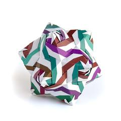 Tiger #origami #kusudama from my latest book. (_Ekaterina) Tags: brown green origami magenta patchwork paperfolding modularorigami kusudama unitorigami ekaterinalukasheva