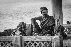 Master and disciple (karmajigme) Tags: travel blackandwhite india monochrome religious nikon noiretblanc streetphotography master varanasi hinduism sadhu disciple