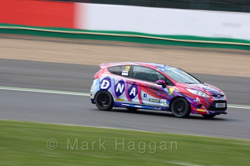 Jessica King in the BRSCC Fiesta Championship at Silverstone, April 2016