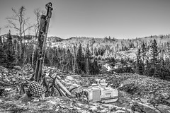 The Supervisor (Cindy's Here) Tags: bw ontario canada rock canon landscape site mine crystals machine pearl amethyst 34 drill billsoldamethystmine 52in2016challenge