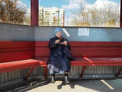 ice cream  P4290304 (Reasonable Excuse) Tags: grandma bus ice spring cream sunny stop april   izhevsk