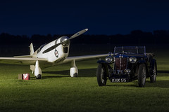 Percival E.2H Mew Gull and MG TA Midget Roadster - 1 (NickJ 1972) Tags: night shoot gull aviation nightshoot mg collection midget ta shuttleworth percival mew roadster e2 2015 oldwarden gaexf