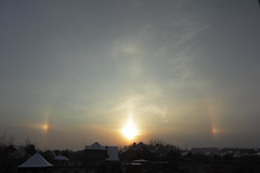 Who let the (sun)dogs out? (Sergei Golyshev (AFK during workdays)) Tags: morning winter light sun cold sunrise optical halo refraction parhelion phantom sundog atmospheric mock phenomenon солнце dispersion зима anisotropic мороз восход гало венец ложное паргелий parlelia