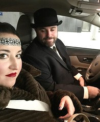 23/366 1920's party for BMC's 90th anniversary - I didn't get any shots of my crazy makeup....so we'll have to do with a Pat eyes closed shot (but my goodness was he adorable in that bowler).  Missing: my giant feather. #project365 #safetyfirst (~*~ KO ~*~) Tags: 1920s selfportrait square makeup squareformat insideacar project365 iphoneography instagramapp