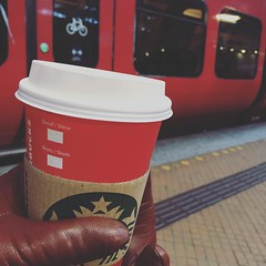 4/1.2016 - still got a red cup! it matches my red S train. happy Monday one and all! #starbucks (julochka) Tags: copenhagen square gingham starbucks squareformat strain redcup 366 iphoneography instagramapp uploaded:by=instagram