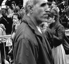 Festival (Owen J Fitzpatrick) Tags: ojf people photography nikon fitzpatrick owen j joe street pavement chasing d3100 ireland editorial use only ojfitzpatrick eire dublin republic city candid tamron man pedestrians festival st saint patricks day phone tablet photobomb crowd leather jacket top profile barrier hairband ponytail melee worried look worry hand shamrock 2014 woman male female pretty beauty beautiful attractive hold holding candidphoto candidphotography candidportrait unposed natural blancoynegro pretoebranco schwarzundweis  hiybi  hi y bi blackandwhite