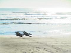 The Lifeguard Catamaran (Steve Taylor (Photography)) Tags: ocean blue shadow sea newzealand christchurch summer black art texture beach water sunshine digital sand surf waves glare pacific sunny lifeguard canterbury nz catamaran newbrighton imprints northnewbrighton