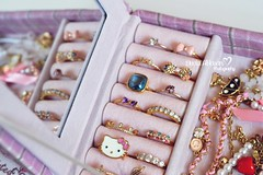 My Rings  (Miss.Dua'a) Tags: pink cute diamonds vintage gold golden michael box girly hellokitty jewelry things ring rings bow kawaii bracelet glam accessories bows accessorize kors