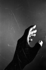 grasp (BleakView) Tags: blackandwhite bw film hand grain mistake scratch yashica grasp fx3