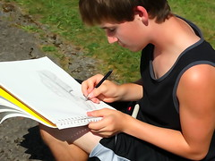 Think Summer (e r j k . a m e r j k a) Tags: summer watercolor sketch florence washington artist pennsylvania teen lad zack erjkprunczyk