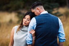 Mountain Love (nicksparksphotography) Tags: pictures wedding man against girl photography engagement eyes colorado couple closed photographer photos head denver session resting leaning conifer meyerranchpark