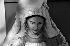 Our Lady of Snow (Violentz) Tags: winter snow cold ice statue virginmary reverema patricklentzphotography