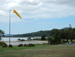 Yellow Windsock (mikecogh) Tags: beach coast bush lowtide scrub dunwich windsock northstradbrokeisland