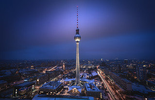 Berlin - TV Tower Spotlight at Night