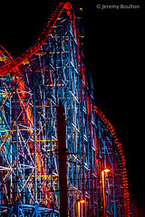 Coaster Heights (JKmedia) Tags: street sky lamp wheel festival metal night reflections lights colours power mesh steel transport illuminations ferris artificial celebration electricity manmade handheld vehicle rollercoaster annual colourful bigwheel angular blackpool afterdark powered 2015 canoneos7d boultonphotography