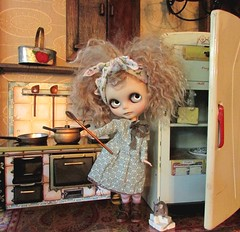 What's Cookin? (SJB Dolls) Tags: food cooking kitchen vintage doll mohair blythe custom vintagekitchen dollkitchen