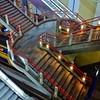escheresque stairs (Cybergabi) Tags: urban architecture modern night stairs rotterdam blaak empty down diagonal railwaystation trainstation escalators escheresque