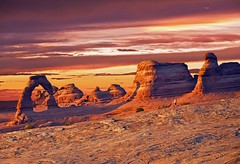 Utah Delicate Arch (aqua.mech) Tags: trip travel sunset summer mountains nature beautiful beauty horizontal clouds america wonder landscape climb utah sandstone scenery rocks raw arch place desert natural symbol famous scenic arches climbing boulders american destination moab geology traveling wilderness redrock cloudscape turism geological turists