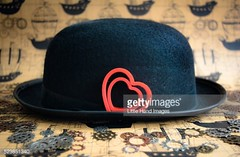 Steampunk Bowler Love - Getty Images #523851340 (Little Hand Images) Tags: hat clothing bowlerhat gears valentinesday redhearts heartcookiecutters lockwashers blackbowlerhat steampunkpaper doubleredhearts