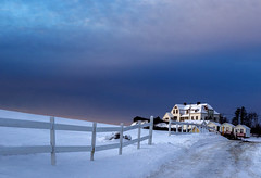Perc before sunrise (Danny VB) Tags: road blue trees winter sky white house snow canada cold clouds sunrise canon fence landscape photography eos frozen hiver newyear qubec neige ef50mmf18ii 6d 2016 canadianwinter perc