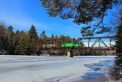 Grindstone Southbound Over The East Branch (MEC&BAR) Tags: new railroad trestle bridge winter train river sub maine railway brunswick southern northern madawaska penobscot grindstone mnr emd sd402 nbsr