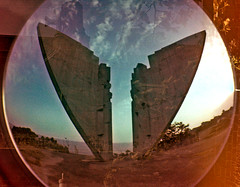 Lomo fisheye Ulcinj monument (melita_dennett) Tags: film monument concrete lomo fisheye 400 analogue balkans brutalism montenegro brutalist ulcinj ulcinn