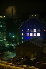 Helsinki (Laser Kola) Tags: windows winter snow night canon suomi finland dark 50mm helsinki factory cityscape nightlights kallio pipe smoking 2008 longshutter canoneos5d deepcolors colorfulwindows lasseerkola laserkola