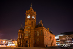 Lair Of The Dragon (Tim van Zundert) Tags: city uk building wales architecture night evening bay long exposure sony south united voigtlander capital cardiff kingdom national welsh pierhead assembly 21mm ultron a7r