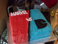 Cut outs go on (Theweird1ne) Tags: blue red white black cake dc comic spiderman ironman superman comicbook superhero batman icing thor marvel captainamerica dairyfree