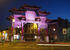 Liverpool Chinese Arch (.annajane) Tags: uk longexposure england architecture night liverpool chinatown arch projection merseyside nelsonstreet lighttrail chinesearch