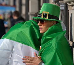 Caped (Owen J Fitzpatrick) Tags: street city pink ireland people dublin woman holiday green beautiful beauty face hat sunglasses saint st wall photography j photo nikon day republic view natural pavement candid flag crowd profile patrick social s joe shades eire use attractive only editorial patricks owen spectators unposed tamron buckle tricolour oconnell visage chasing crowded fitzpatrick cloaked headgear candidportrait candidphoto candidphotography carrolls ojf d3100 ojfitzpatrick