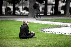 On the grass (frfourrier) Tags: park paris france colour art girl grass canon colours 5d dop 135mm