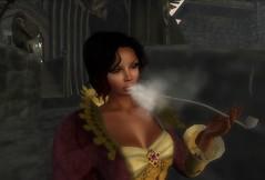 Anachron - Glorianna Gown & Wizard Smoking Pipe @ Dangarnon (melyna.foxclaw) Tags: exclusive relayforlife anachron darkpassions analogdog fantasyfaire maitreyalarameshbody dangarnon gloriannagown wizardsmokingpipe omegahair somethingwickednails