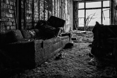 Where Sofas Come to Die (CJ Schmit) Tags: blackandwhite bw tree abandoned window glass overgrown monochrome canon garbage chair floor furniture bricks pipes indiana naturallight couch warehouse indoors dirt sofa urbanexploration gary walls dust crumbling urbex garyindiana urbanwaste urbandestruction canonef1740mmf40lusm canon5dmarkiii cjschmit 5dmarkiii wwwcjschmitcom niksilverefex2 cjschmitphotography