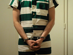 Rainer in jumpsuit and restraints (rainerzufall1234) Tags: handcuffs prisoner handcuffed jumpsuut
