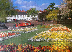 Stratford-upon-Avon (pefkosmad) Tags: buildings garden hobby puzzle photograph leisure jigsaw narrowboat warwickshire stratforduponavon pastime flowerbeds