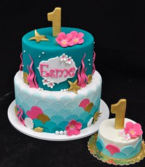 Mermaid themed birthday cake and smash cake (jennywenny) Tags: birthday pink flowers shells cake gold smash teal mermaid