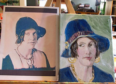 WV Girl from Long Ago--Stages (kevin63) Tags: woman hat painting progress stages wv oil spencer lightner bluedress goldearrings redhatband