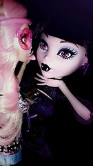 The Ghoul Behind The Star (Icky'sMarvel) Tags: friends movie big doll dolls vampire large makeup shades snakes exclusive blushing makeupartist sizedifference 17inches viperine vampirequeen monsterhigh frightscameraaction elissabat viperinegorgon frightfullytall