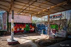 Open 24H a day. (ericbaygon) Tags: urban color abandoned station shop nikon paint belgium belgique belgie decay tag vivid dessin peinture fina antwerp essence gasoline couleur dx urbain graffitis doel pompe gasoil nikonpassion d300s