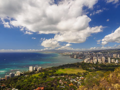 Above Waikiki (RobertCross1 (off and on)) Tags: ocean park city urban mountain clouds buildings landscape volcano hawaii us cityscape unitedstates waikiki oahu bluesky olympus pacificocean diamondhead hi honolulu omd kapiolani em5 1250mmf3563mzuiko
