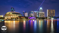 Esplanade | Waterfront Promenade (kenneth chin) Tags: city light architecture yahoo google twilight nikon singapore asia esplanade laser ritzcarlton nikkor panpacific conrad mandarinoriental marinabay digitalblending d810 theatreonthebay 2470f28g