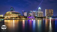 Esplanade   Waterfront Promenade (kenneth chin) Tags: city light architecture yahoo google twilight nikon singapore asia esplanade laser ritzcarlton nikkor panpacific conrad mandarinoriental marinabay digitalblending d810 theatreonthebay 2470f28g