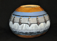 DAM BOWL (KayLov) Tags: blue sky brown art nature water river paint acrylic pattern natural flood dam stripes gray picture lavender bowl spray carve container gourd column spill shape decor cascade