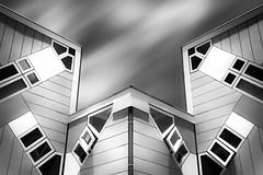 The overwiew (50D-Ray) Tags: blackandwhite architecture rotterdam blaak kubuswoningen