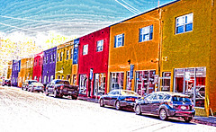 McIntire Plaza (creepingvinesimages - struggling to keep up!) Tags: street blue red colors yellow buildings outdoors virginia nikon colorful digitalart commercial charlottesville shoppingcenter topaz sliders autofocus hss photomatix d7000 pse14 mcintireplaza